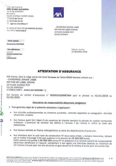 Attestation d'assurance décennale Ent LABBÉ page 1